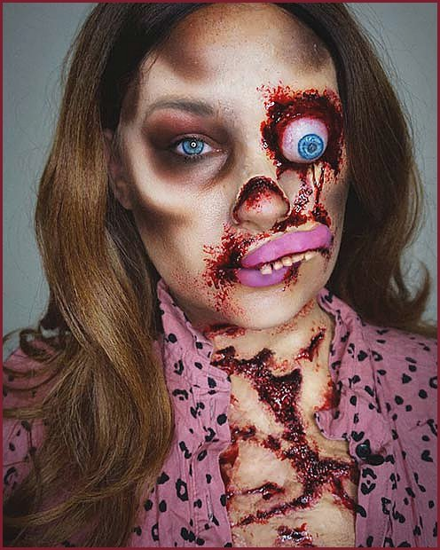 Gruesome Zombie Makeup with an Eye