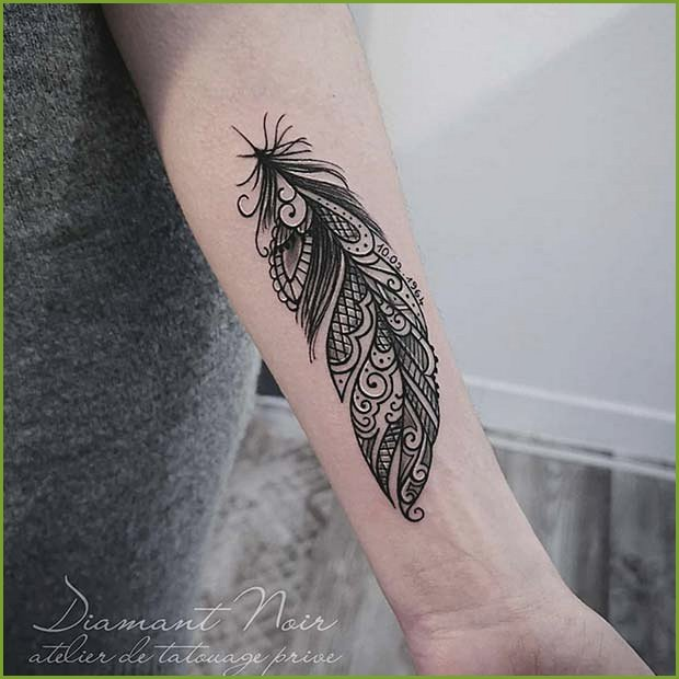 Lace Feather Tattoo Design