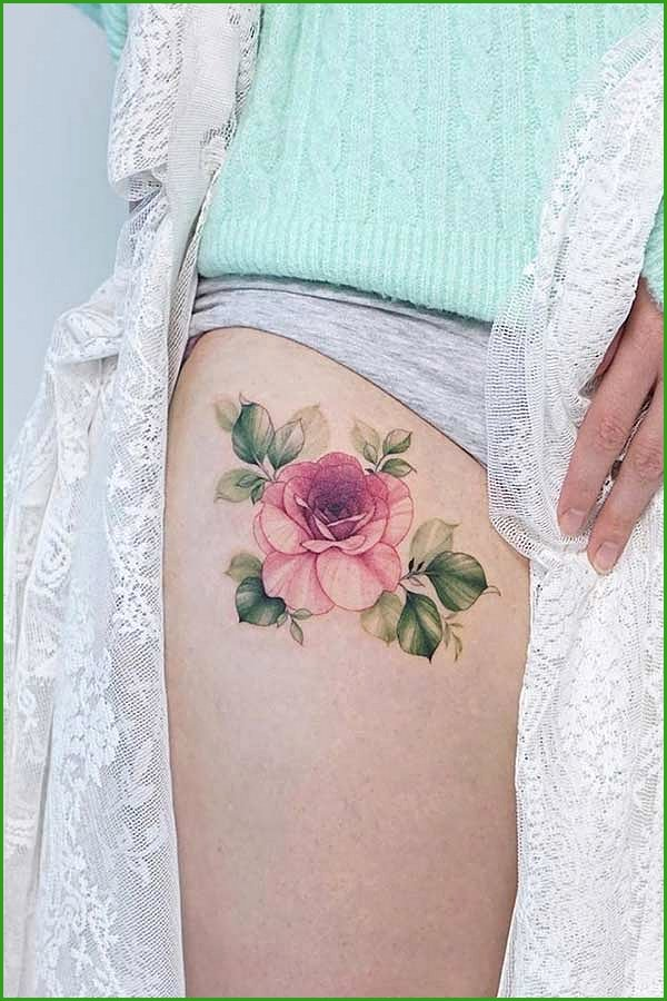 Red Rose Thigh Tattoo Idea