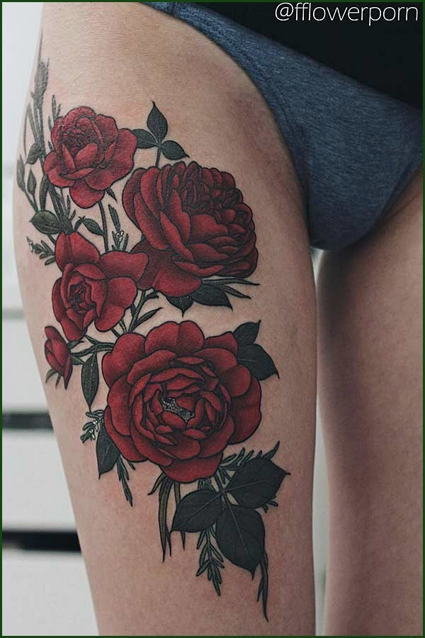 Big Red Roses Thigh Tattoo
