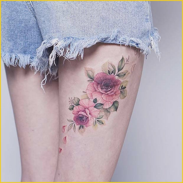 Back of Thigh Rose Tattoo