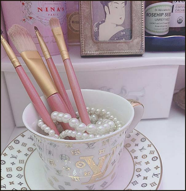 Makeup Brushes In A Teacup