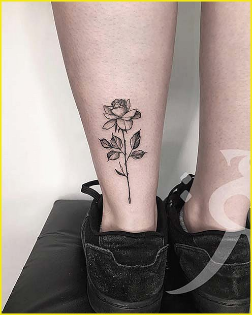 Single Rose On The Back of the Leg