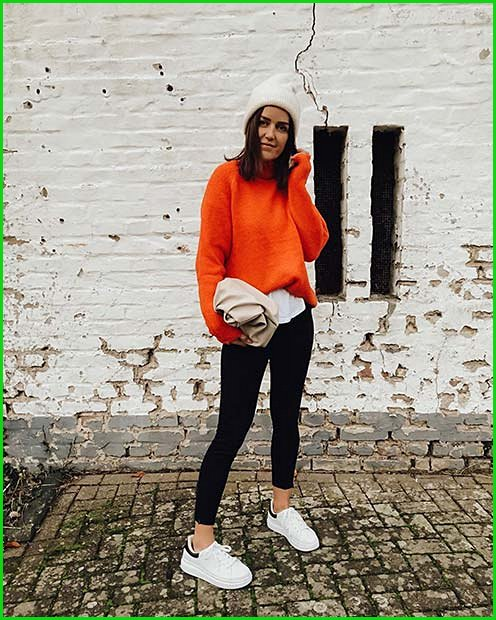 Bold Neon Sweater Outfit Idea