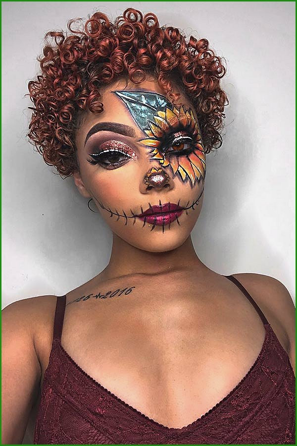 Sunflower Scarecrow Makeup