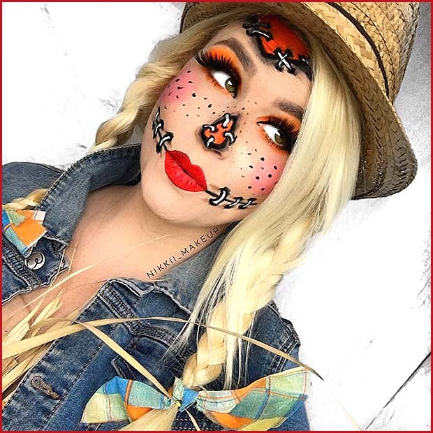 Pretty Scarecrow Makeup Idea