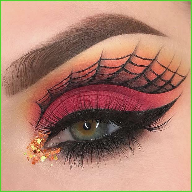 Glam Eyes with a Spider Web Design