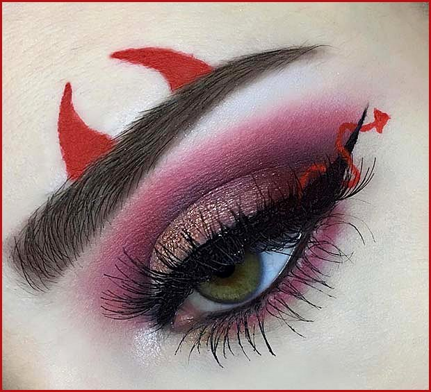 Pretty Eye Makeup with Red Devil Horns and Tail
