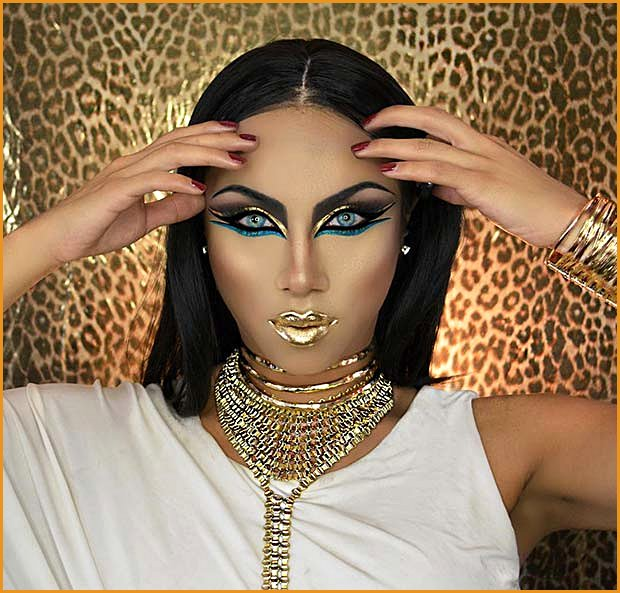 Glam Eye Makeup and Gold Lips