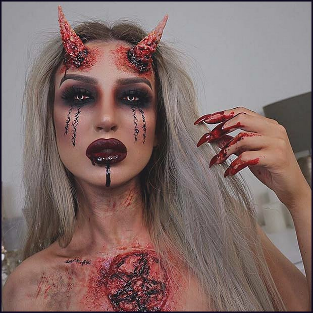 Bloody and Scary Devil Makeup Idea