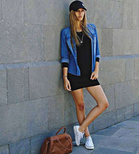 Dress and Baseball Hat Casual Outfit Idea