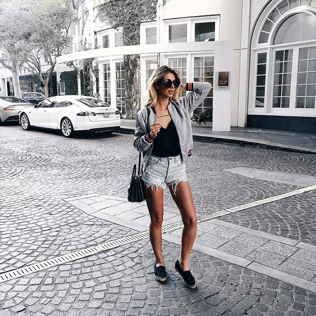 Denim Shorts and Espadrilles Outfit for Spring and Summer